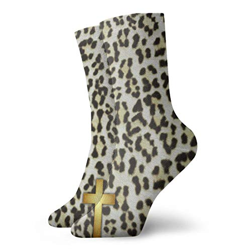 Leopard Cross White Snow Leopard Mujeres Animal Series Novedad Casual Crew Calcetines