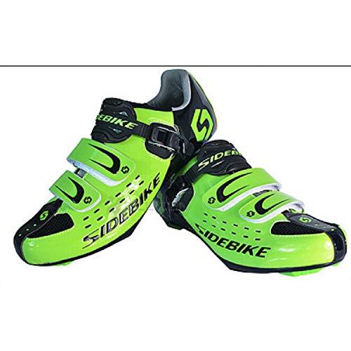 SIDEBIKE Radfahrenschuhe für Erwachsene, Rennradschuhe Imprägniern Beleg Beständig, Carbon Faser Fahrrad Schuhe (45, Grün)