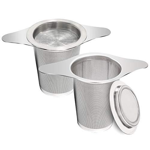 Teefilter, 2 Stück Teeei Edelstahl aus Rostfreiem Stahl, Teesieb mit Doppelgriffen und Deckel zum Einhängen an Teekannen, Tassen und zum Aufbrühen von Losen Teeblättern und Kaffee