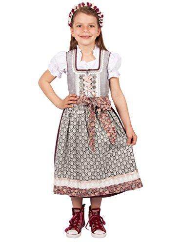 Krüger Kinderdirndl Kinder Dirndl 43601 grau 3-TLG. (122, grau)