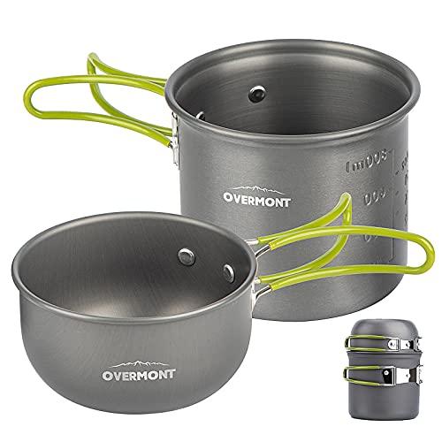 OvermontDS-101アルミクッカーセットアウトドア鍋キャンピング調理器具食器2点セット収納袋付き