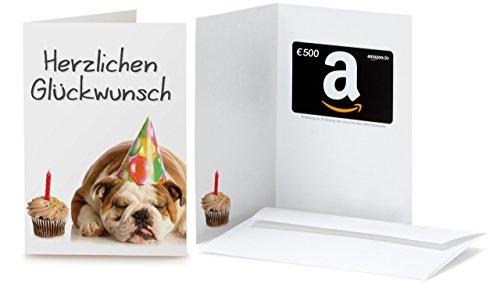 Amazon.de Geschenkkarte in Grußkarte - 500 EUR (Geburtstag Bulldog)