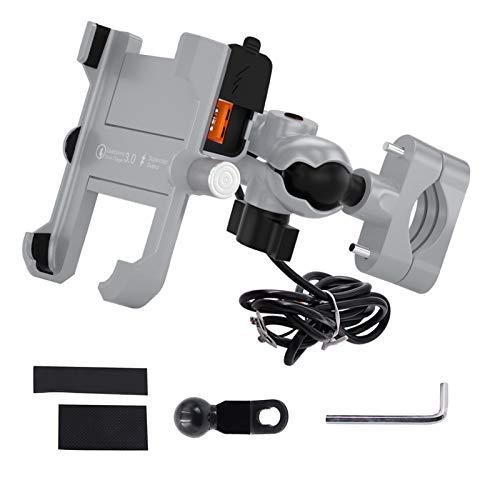 ( 2 en 1 ) cargador de instalación de teléfono de motocicleta impermeable cargador de soporte de teléfono móvil USB 5V3.4A con base de aluminio para vehículos de 12V / 24V