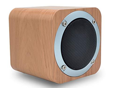 CUBUS Bluetooth Lautsprecher im Holz-Design, kompakte kabellose Musikbox mit starkem Sound