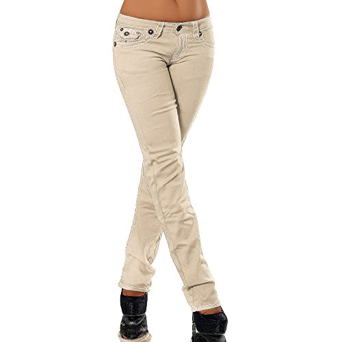 Damen Bootcut Jeans Hose Damenjeans Hüftjeans Gerades Bein Dicke Naht Nähte H922, Größen:38 (M), Farben:Beige