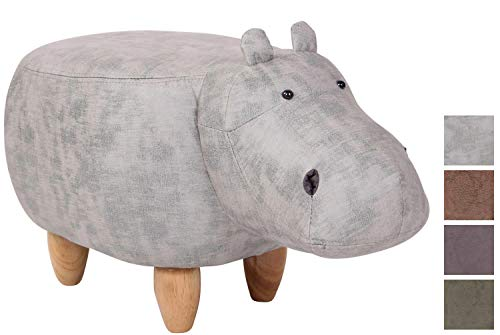 CLP Taburete Hipopótamo Infantil Naulila I Taburete Otomana Tapizada En Simil Cuero con Efecto Vintage I Puff Reposapiés De Animal I Color: Gris