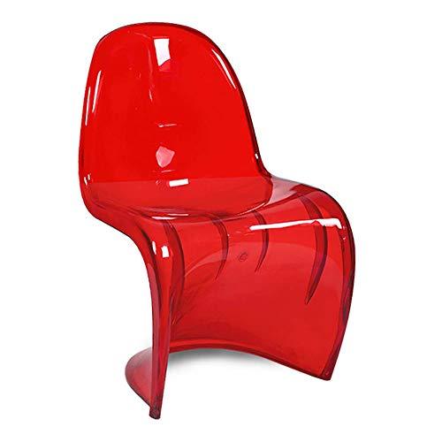 Transparenter Beistellstuhl, Panton S-förmiger Stuhl Esszimmerstuhl aus Acryl Kreativer moderner Barstuhl für den Innenbereich im Innenbereich für das Wohnzimmer im Cafe Pub ( Color : Red 2 )
