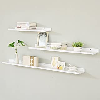 zhihuoyou Nordic Floating Shelves Solid Wood Bedroom Simple Shelves TV Floating Floating Shelf one Word partition 90 cm White