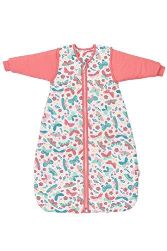 Schlummersack Saco de dormir para bebé, para las cuatro estaciones, con mangas extraíbles, 2,5 tog, 90 cm, 6-18 meses, diseño de mariposas