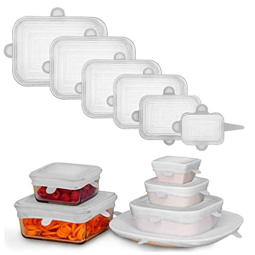 Adpartner Silicone Lids for Food Storage, 6-Pack of Various Sizes Rectangle Silicone Stretch Lids, Reusable BPA-free Flexible Container Lids, Microwave & Freezer & Dishwasher Use Safe