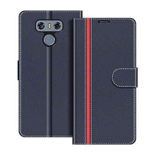 COODIO Funda LG G6 con Tapa, Funda Movil LG G6, Funda Libro LG G6 Carcasa Magnético Funda para LG G6, Azul Oscuro/Rojo