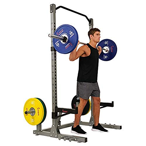Sunny Health & Fitness Power and Squat Rack with High Weight Capacity, Olympic Weight Plate Storage and 360° Swivel Landmine and Power Band Attachment