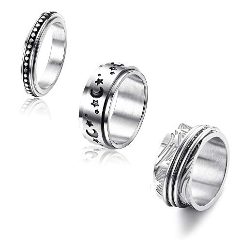 Jstyle 3Pcs Stainless Steel Spinner Fidget Ring for Women Men Moon Star Celtic Stress Relieving Wedding Promise Cool Band Rings Set 9