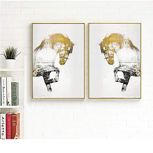 Geiqianjiumai Europäischen Stil goldene Pferd und Stadt wandkunst Bild Wohnzimmer Poster und drucke Moderne Kunst Druck Dekoration rahmenlose malerei 60x80 cm