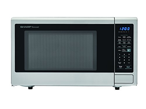 SHARP Carousel 1.4 Cu. Ft. 1000W Countertop Microwave Oven with Orville Redenbacher's Popcorn Preset (ISTA 6 Packaging), Cubic Foot, Stainless Steel
