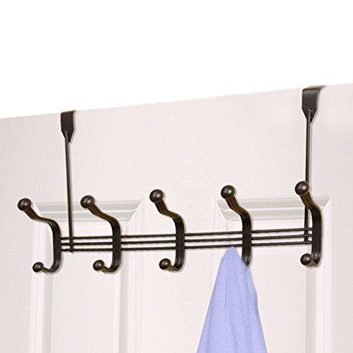 Home Basics Over the Door Organizer 5-Hook Rack for Coats Hats Robes Towels Bedroom Closet and Bathroom Bronze
