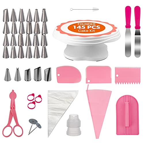 AISARCH Cake Decorating Supplies Kit,145 Pcs Cake Decorating Tools Set,Cake Turntable Set/Cake Stand with Piping Tips,Rose&Leaf Icing Tips,Cake Decorating Icing Spatula Set