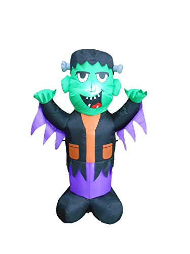 BZB Goods 4 Foot Tall Halloween Inflatable Frankenstein Party LED Lights Decor Outdoor Indoor Holiday Decorations, Blow up Lighted Yard Lawn Decor Home Family Outside