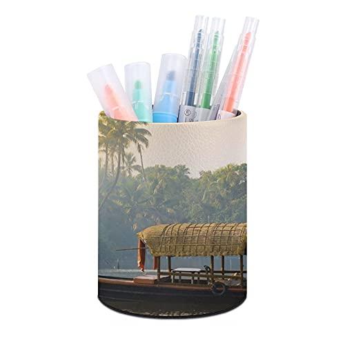 Titular de la pluma de oficina redonda de cuero,Casa flotante plana naranja Kerala anclado en costas naturaleza tranquila India,Organizador de escritorio para dormitorio de oficina en casa