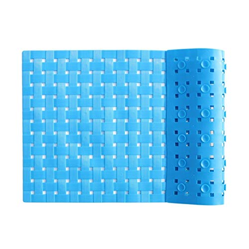 ALL PRIDE Bathtub and Shower Mat, Non Slip, Machine Washable, Woven Design, Best Choice for Kids Bath Mat for Tub and Shower, 27 x15 Inch, Blue