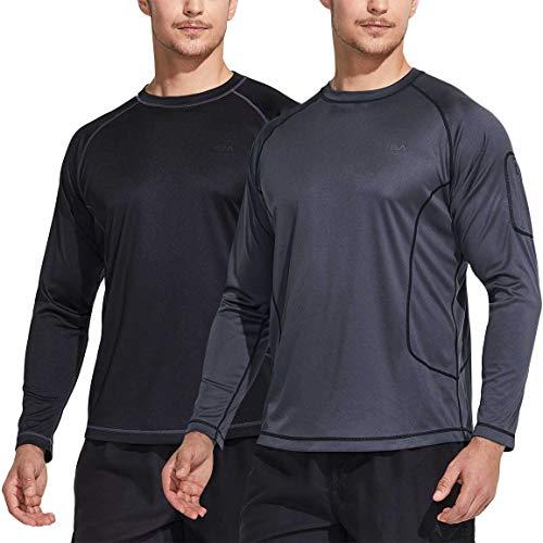 Tsla Rash Guard - Camiseta de manga larga para hombre, UPF 50 + Loose-Fit, secado rápido, SPF/UV, camiseta de baño, talla M, color negro y gris