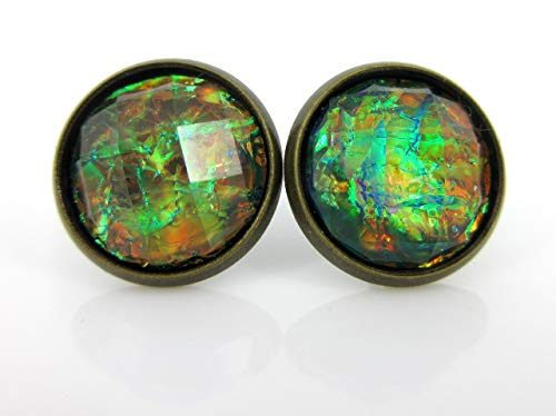 Antiqued Gold-tone Black Faceted Resin Opalescent Stud Earrings 12mm