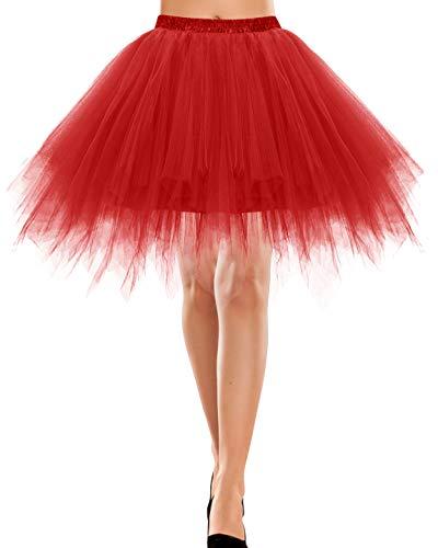 Bbonlinedress Damen Tüllrock 50er Rockabilly Petticoat Tutu Unterrock Kurz Ballett Tanzkleid Ballkleid Ballet Abendkleid Gelegenheit Zubehör Red L