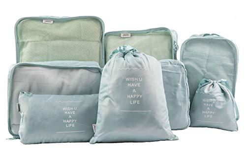 (FADISH)アレンジケース 8点セット 収納ポーチ トラベルポーチ 旅行用 防水軽量 便利グッズ スーツケース整理 衣類収納 靴バッグ 巾着袋 家庭収納 (スカイブルー)