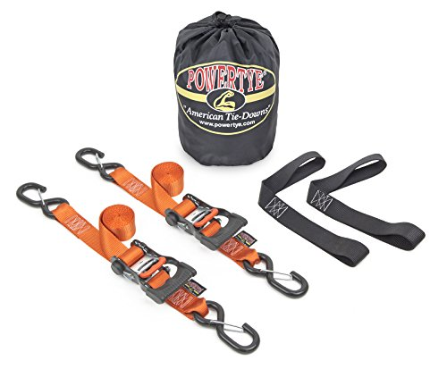 pair Made in USA with Soft-Tye and Carabiner Hooks PowerTye 1.5in x 6.5ft Heavy-Duty Yellow-Zinc Ratchet Tie-Downs Orange//Black