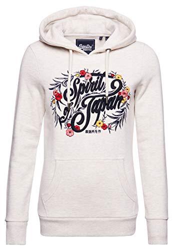 Superdry Womens Folk FLORAL Hood Hooded Sweatshirt, Queen Marl, 12