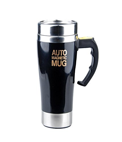 Mengshen Tazza con Miscelatore/Auto Magnetic Mug 450ml Double Layer Stainless Steel Self Stirring Magnet Coffee Cup for Travel Office, A008M Black