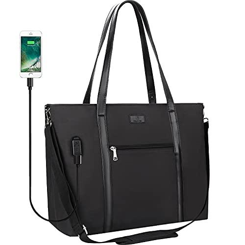 Laptop Tote Bag, Large Women Work Bag Purse USB Teacher Bag Fits 17.3 Inch Laptopp (17.3 inch, Black)