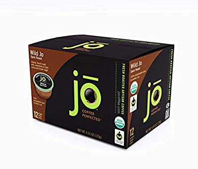 WILD JO: 12 Cup Organic Dark French Roast Single Serve Coffee Pods for Keurig K-Cup Compatible Brewers | Bold Strong Rich Wicked Good | Eco-Friendly Fully Compostable Coffee Pods | Fair Trade Certified Non-GMO Gluten Free Coffee | Our Most Popular