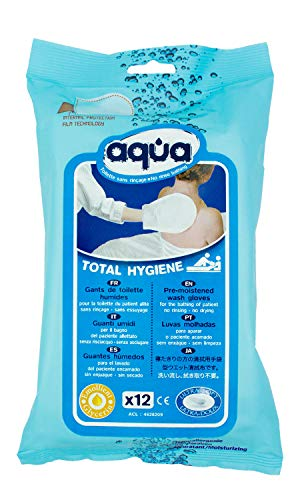 Cleanis No Rinse Aqua Wash Gloves - Medical Grade Pre-Moistened wash Glove - No Water, Soap, rinsing or Drying Necessary - All Types of Skin - Hypoallergenic- Pouch of 12 Gloves