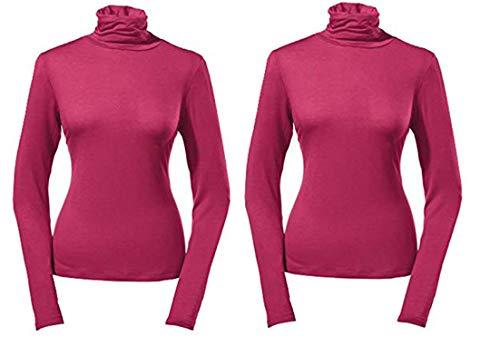 Esmara Damen Rollkragen Pullover Langarmshirt Rollkragenshirt Thermoshirt Pullover 2er Pack (L 44-46)