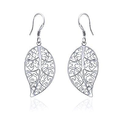 Geerier Unique Leaf Double Linear Loops Earrings Drop Dangle Eardrop Jewelry For Women