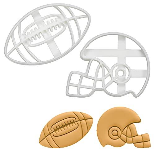 2er Set Amerikanischer Fußball Ausstechformen (Formen: Amerikanischer Football-Helm & Fußball), 2 Teile, Bakerlogy