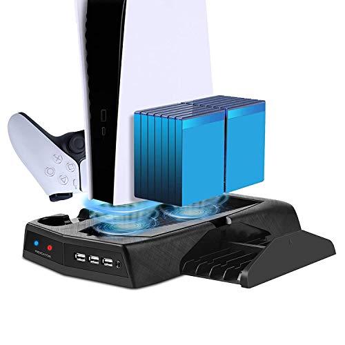 Soporte de carga vertical con ventilador de refrigeración para PS5 Digital Edition / Ultra HD, estación de carga PS5 con cargador de controlador dual, 14 ranuras para juegos y 3 puertos USB HUB