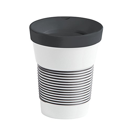 Kahla Coffee to Go Becher 0,35 l mit Deckel, Porzellan, Magie Grip anthrazit, 13 cm