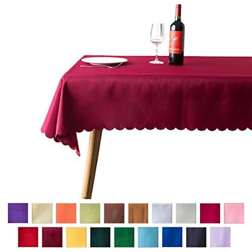 JK Home Hotel - Tovaglia Runner da tavola in Poliestere Lavabile, Poliestere, Burgundy, 70\'\'x70\'\' / 180 * 180cm