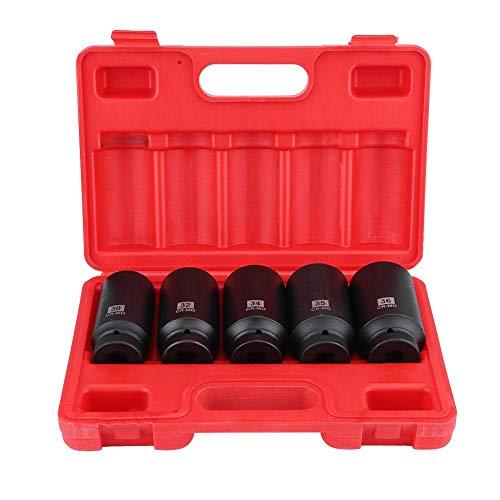 Nabenmuttern-Steckschlüsselsatz, 5-tlg, 1/2-Zoll-Innensechskant-Steckschlüsselsatz 30 mm, 32 mm, 34 mm, 35 mm, 36 mm, mit Aufbewahrungskoffer
