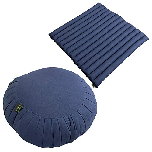 Laeto Zen Sanctuary Yoga & Meditation Zafu Cushion And Zabuton Mat Set In Cotton Linen...
