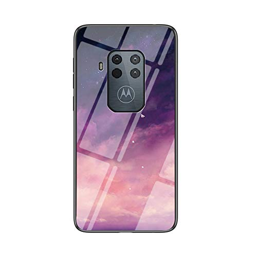 BRAND SET Handyhülle für Motorola One Zoom Transparent Lila Sternenhimmel Muster Schutzhülle Gehärtete Glas Rückseite mit TPU-Kanten Stoßfeste Hülle für Motorola One Zoom-MHXK