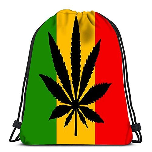 Hdadwy Gym Drawstring Bags Rastafari Flag Sport Storage Polyester Bag for Gym