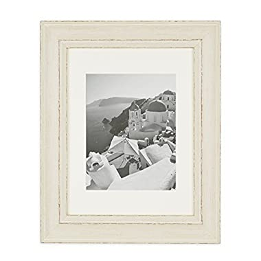 Golden State Art Wall Hang 11x14 Picture Frame, 2-inch Wide. Includes an Ivory Mat for 8x10 and Real Glass, Color Cream with Shabby Chic Style