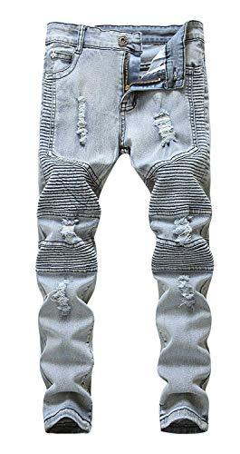 Boy's Slim Skinny Ripped Distressed Stretch Moto Biker Fashion Fit Denim Jeans with Holes Size 14 Vintage Blue