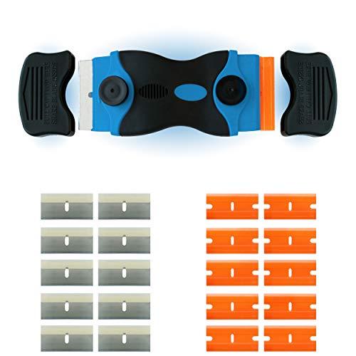 Wasila 2 in 1 | Schaber | Ceranfeldschaber | Herd | Kratzer | Glasschaber | mit Abdeckung zur Sicherheit | inkl. 10 Edelstahl- und 10 Plastik-Klingen (Blau)