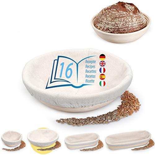 Lunata Gärkörbchen (rund | Ø 25 cm) inkl. 16 leckere Backrezepte als PDF, Gärkorb für Brotteig aus natürlichem Rattan, Brotbackform mit Leineneinsatz