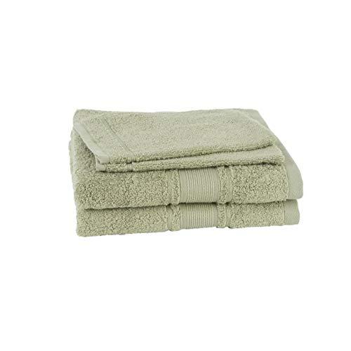 JULES CLARYSSE Set van 2 handdoeken + 2 ROYALE washandjes - Olijfgroen