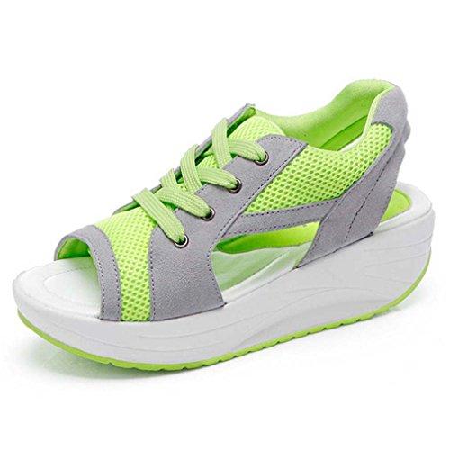 Solshine Damen Netz Atmungsaktiv Sandalen Turnschuhe Offene Zehen Sneakers M198 Grün 38EU